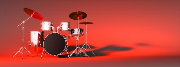 Drum kit su uno sfondo rosso, 3d'illustrazione