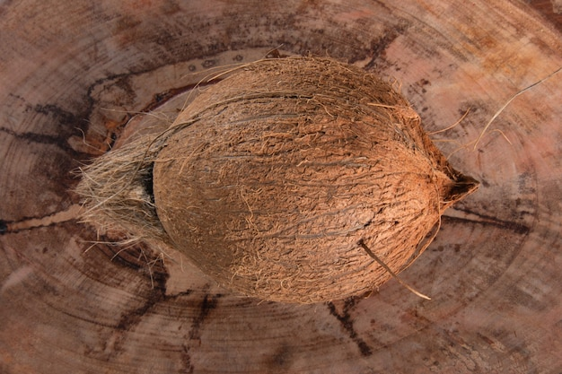 Frutta secca di cocco isolata su fondo di legno rustico wood