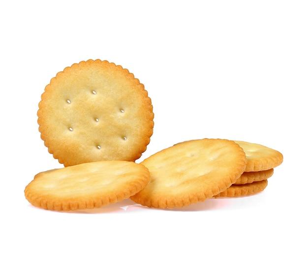 Biscotti secchi cracker isolati su sfondo bianco