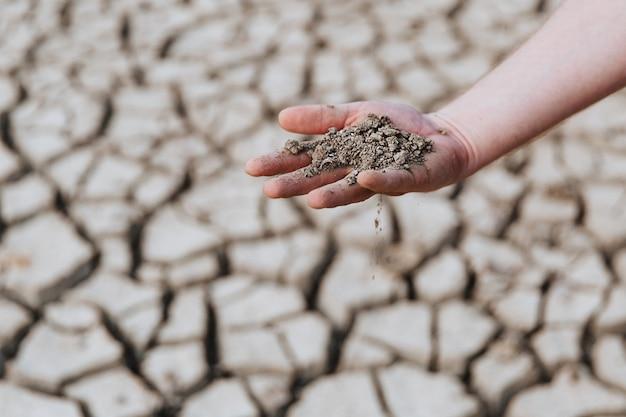 La terra asciutta si trova nel palmo della mano di un uomo che si scalda sul problema ambientale del mondo del piatto