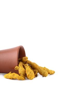 Asciughi le radici o le cortecce della curcuma in una pentola di terracotta isolata sulla superficie bianca