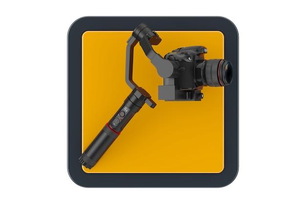 Dslr o videocamera gimbal stabilizzazione sistema treppiede touchpoint icona pulsante su sfondo bianco. rendering 3d