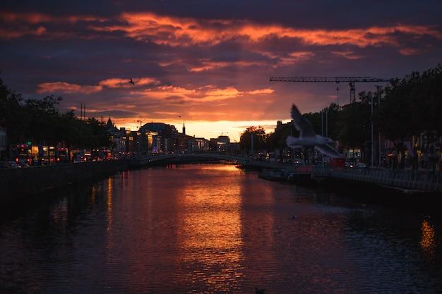 Il paesaggio urbano di dublino durante un tramonto colorato con nuvole e gabbiani