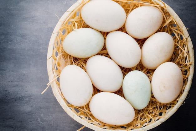 Uova di anatra su una gabbia grigia.