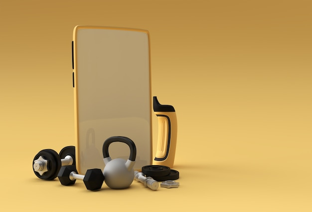 Modello mobile con manubri e bilancieri. file psd trasparente.