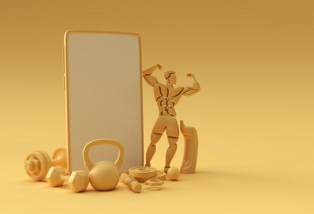 Modello di schermo vuoto per smartphone con manubri e bilancieri. mockup alla moda alla moda astratto. rendering 3d dell'app mobile del telefono vuoto.