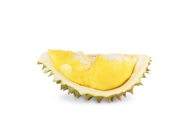 Durian isolato su sfondo bianco, frutto dell'asia