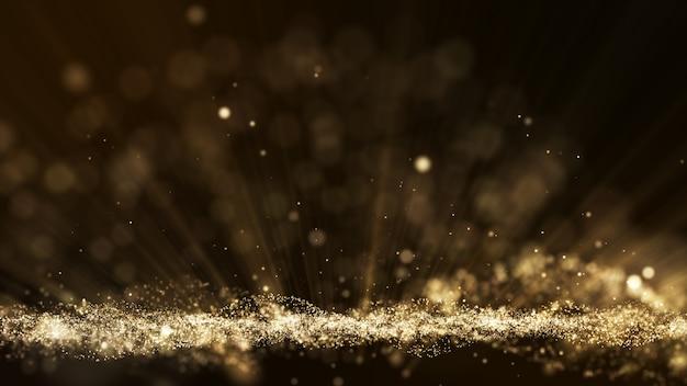 Esplosione di particelle di polvere, effetto raggio di luce, sfondo cinematografico di titoli in movimento.