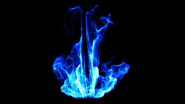 Dynamic blue fire flame. 3d.