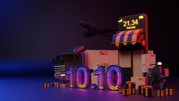 Concetto di commercio elettronico. 10.10 acquisti online di bagliori di luce al neon. rendering 3d