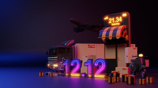 Concetto di commercio elettronico. 12.12 acquisti online di bagliori di luce al neon. rendering 3d