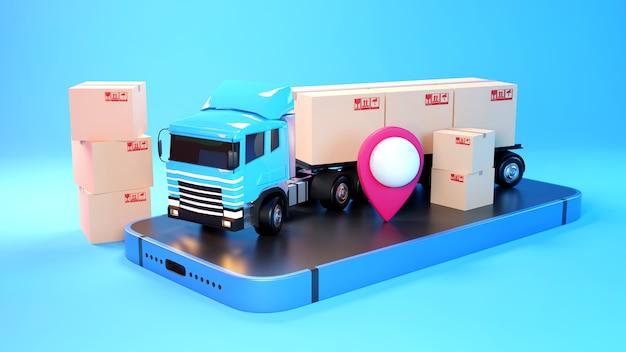 Concetto di e-commerce, servizio di consegna su applicazione mobile, trasporto su camion, rendering 3d