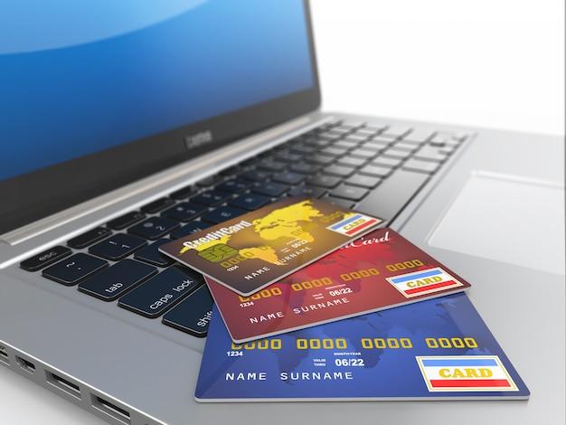 E-commerce. carte di credito su laptop