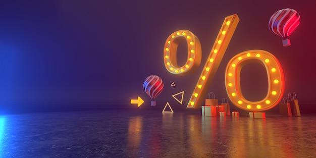 Delle vendite e-commerce, acquisti online, sconto annuale, mercato digitaleingr. tutti vivono in un'atmosfera futuristica. rendering 3d.