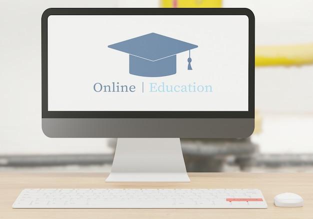 E - concetto di apprendimento, computer sulla tavola di legno, scuola online con rendering 3d