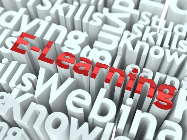 Progettazione concettuale e-learning. sfondo di apprendimento online.