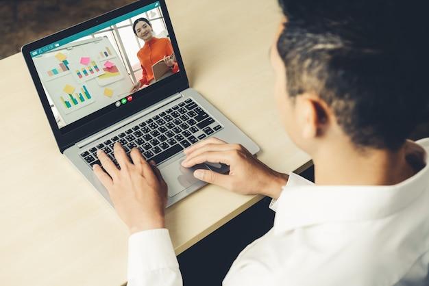 E-learning e concetto di riunione di presentazione aziendale online