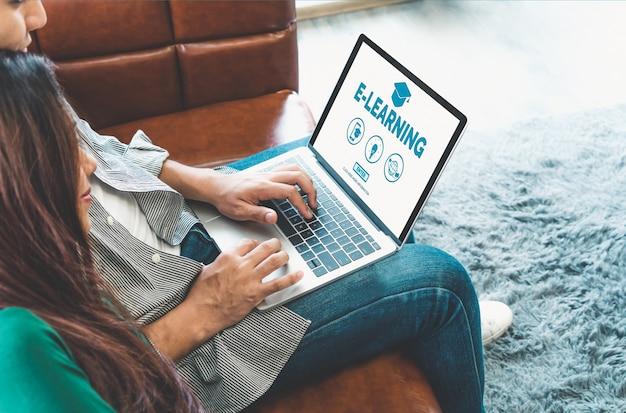 E-learning e formazione online per studenti e concetto universitario.