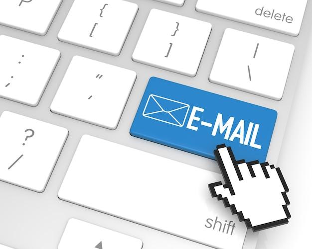 Tasto invio e-mail con cursore a mano. rendering 3d