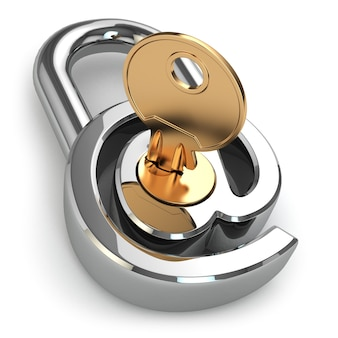 Protezione della posta elettronica. a come serratura e chiave. 3d