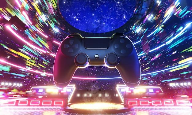 Arena di e-sport e joypad di gioco nella velocità della luce colorata