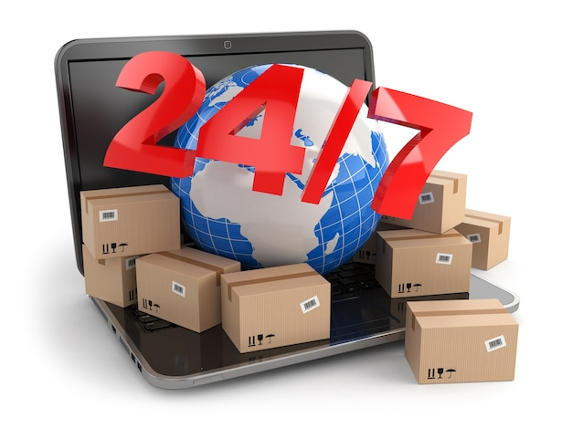 Terra e scatole su laptop 247 3d
