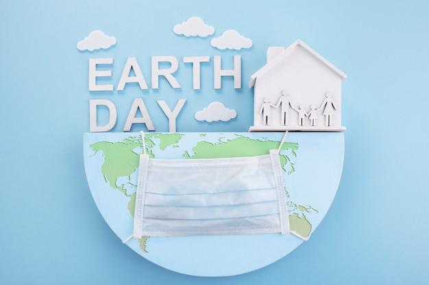 Giornata della terra in stile moderno. quarantena. salvare il concetto di mondo pianeta terra.