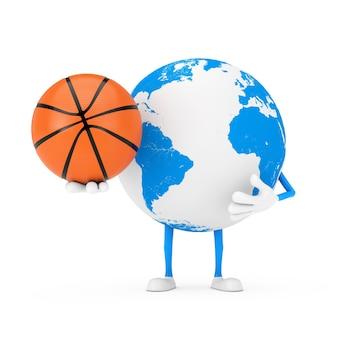 Mascotte del carattere del globo terrestre con palla da basket su sfondo bianco. rendering 3d