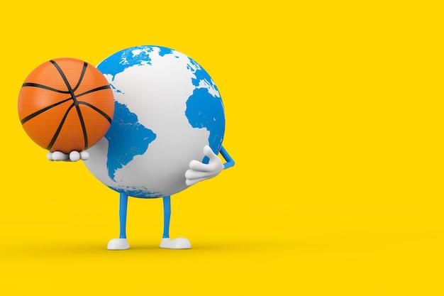 Mascotte del personaggio del globo terrestre con palla da basket su sfondo giallo. rendering 3d
