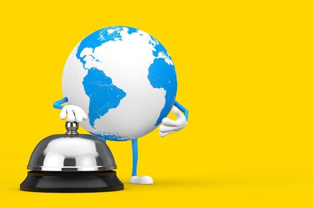 Mascotte del carattere del globo terrestre con la chiamata di bell di servizio dell'hotel su una priorità bassa gialla. rendering 3d