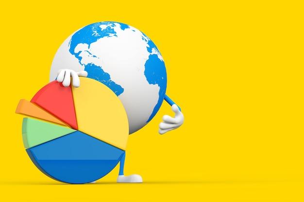 Mascotte del carattere del globo terrestre con grafico a torta di affari di informazioni grafiche su un fondo giallo. rendering 3d