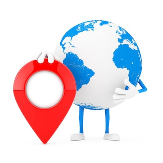 Mascotte del carattere del globo terrestre con il perno rosso dell'obiettivo del puntatore della mappa su un fondo bianco. rendering 3d