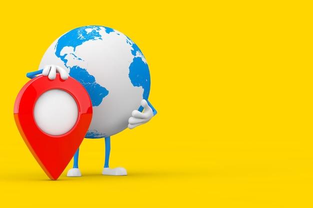 Mascotte del personaggio del globo terrestre con il perno di destinazione puntatore mappa rossa su sfondo giallo. rendering 3d