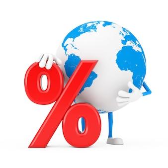 La mascotte del carattere del globo terrestre con la vendita al dettaglio rossa di percentuale o il segno di sconto su sfondo bianco. rendering 3d