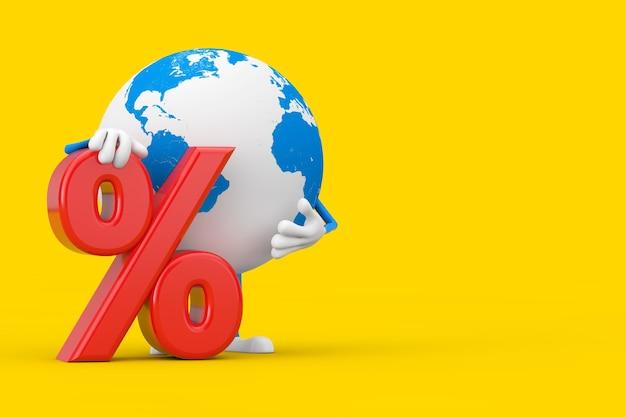 Mascotte del personaggio del globo terrestre con il segno rosso di vendita al dettaglio o di sconto su uno sfondo giallo. rendering 3d