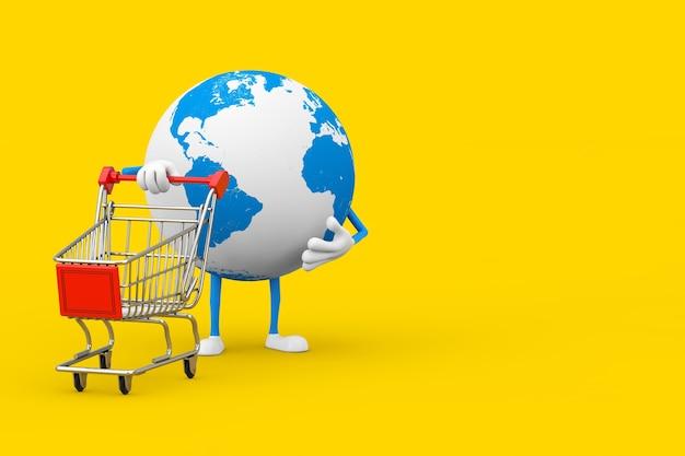 Mascotte del carattere del globo terrestre con il carrello del carrello su uno sfondo giallo. rendering 3d