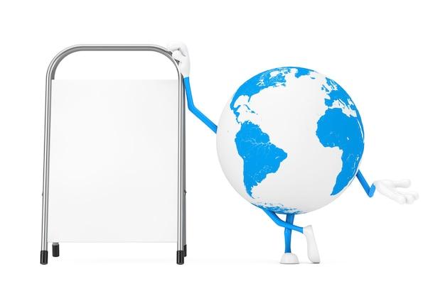La mascotte del carattere del globo terrestre con la promozione pubblicitaria in bianco bianca sta su uno sfondo bianco. rendering 3d