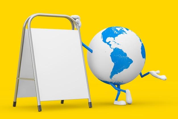 La mascotte del personaggio del globo terrestre con la promozione pubblicitaria in bianco bianca sta su uno sfondo giallo. rendering 3d