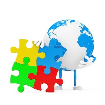 Globo terrestre persona personaggio mascotte con quattro pezzi di puzzle colorati su sfondo bianco. rendering 3d
