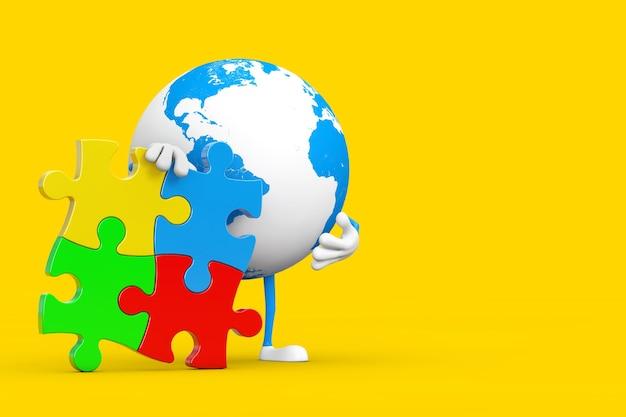 Globo terrestre persona personaggio mascotte con quattro pezzi di puzzle colorati su sfondo giallo. rendering 3d
