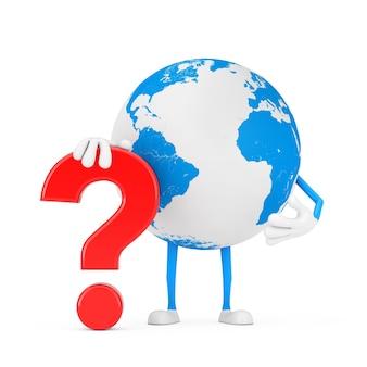 Mascotte del carattere della persona del globo terrestre con il segno rosso del punto interrogativo su un fondo bianco. rendering 3d