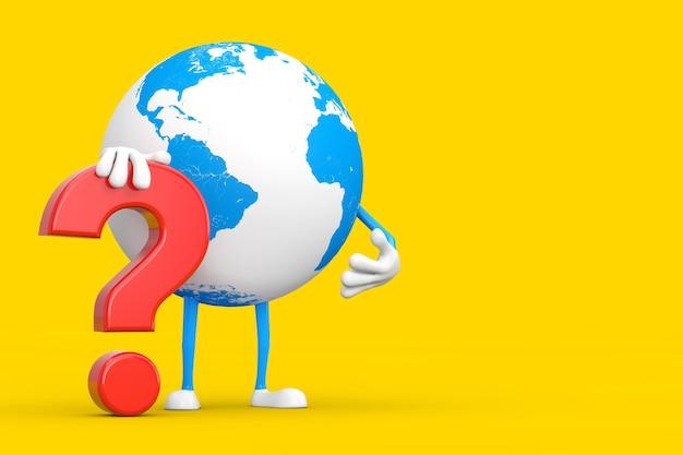 Mascotte del carattere della persona del globo terrestre con il segno rosso del punto interrogativo su un fondo giallo. rendering 3d