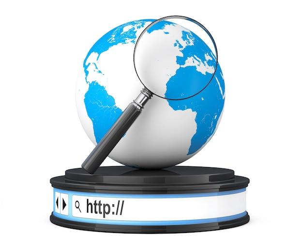 Globo terrestre con lente di ingrandimento sulla barra degli indirizzi del browser come piedistallo rotondo della piattaforma su sfondo bianco. rendering 3d