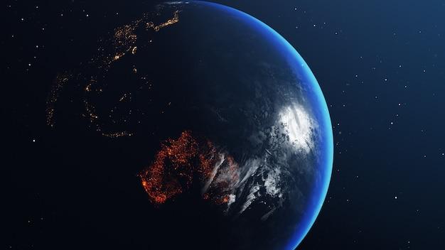 Globo terrestre con mappa dell'australia tutto bruciato e in fiamme