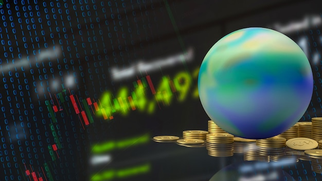 La terra e le monete d'oro per il rendering 3d del concetto di business