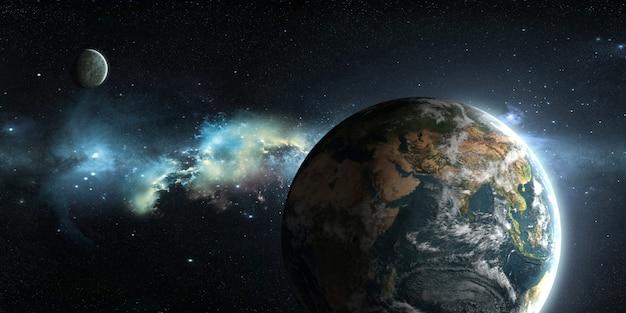 Terra, luna e sole sullo sfondo dello spazio esterno nell'illustrazione 3d