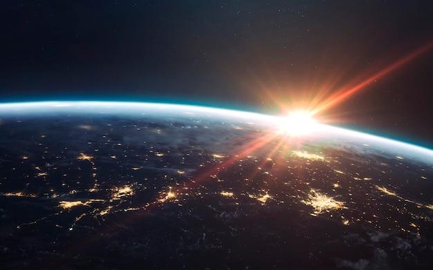 Terra di notte, luci della città dall'orbita. elementi di questa immagine forniti dalla nasa