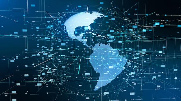 Ologramma digitale di concetto di business globale di particelle di terra
