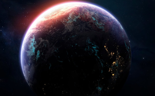 Pianeta terra, fantastico sfondo di fantascienza. elementi di questa immagine forniti dalla nasa