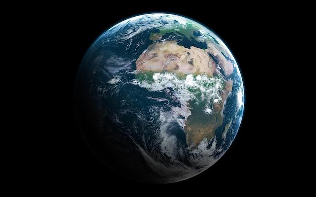 Terra nello spazio, illustrazione 3d. .